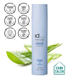 Fixativ fixare puternica Sensitive Hairspray IdHAIR este un fixativ fără parfum care conferă o fixare puternică si de durata coafurii. Acest fixativ este îmbogățit cu aloe vera cu rol de hidratare a parului și este testat dermatologic, ceea ce îl recomanda persoanelor cu afectiuni ale scalpului sau persoanelor cu scalp sensibil, iritat.